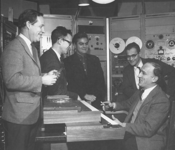 Charles Hamm, Lejaren Hiller, Salvatore Martirano, Herbert Braid, Kenneth  Gaburo at the EMS, Toronto, 1965
