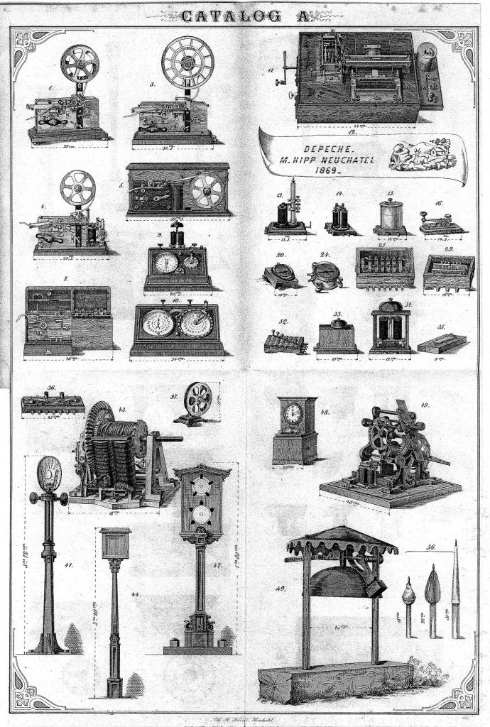 Illustrated catalogue from the Neuchatel Telegraph Factory showing numerous inventions of Matthias Hipp c1869