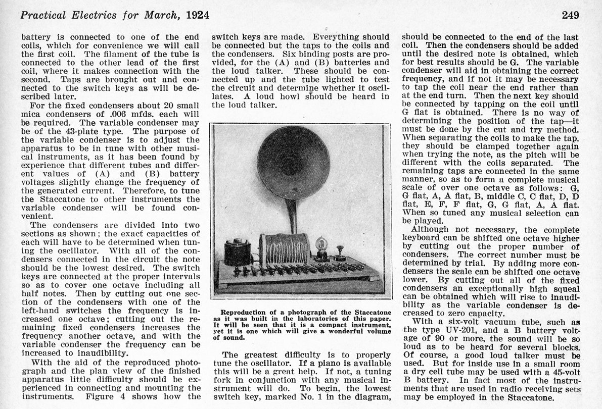 Gernsback's Practical Electrics magazine March 1924 describing the Staccatone